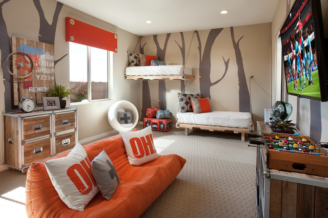Trendy carpeted kids' bedroom photo in Phoenix with brown walls