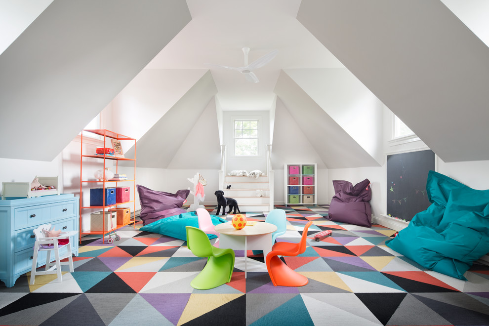 Kids' room - eclectic gender-neutral carpeted and multicolored floor kids' room idea in New York with white walls