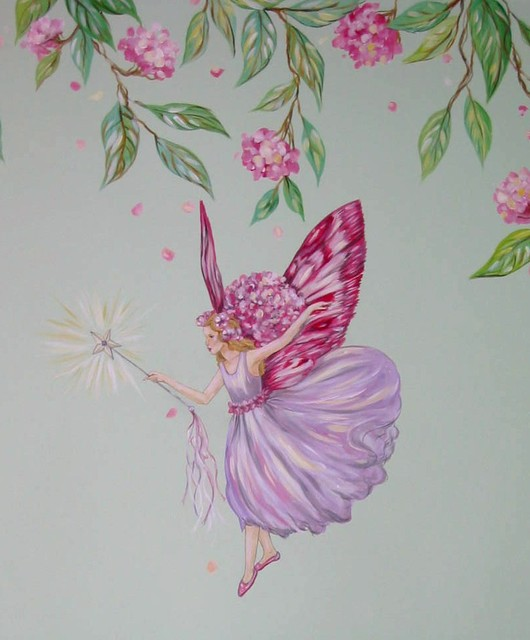 Fairy girls room mural for Fairy wall mural