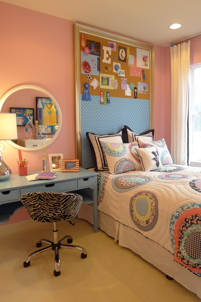 Kids' room - contemporary girl kids' room idea in DC Metro with pink walls
