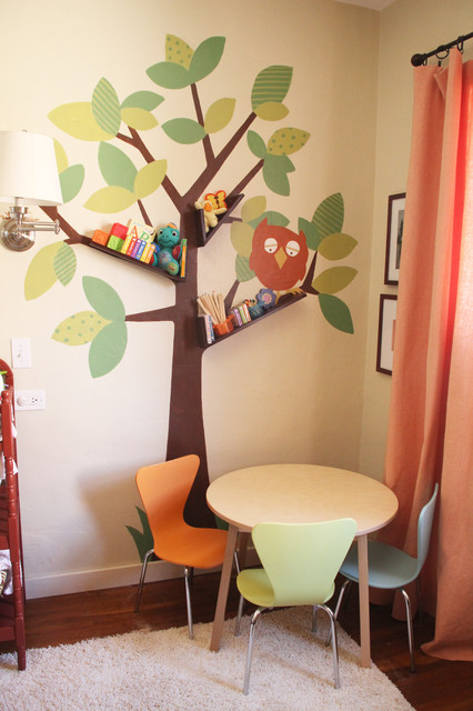 Floating Booshelves & Tree Wall Art contemporary kids