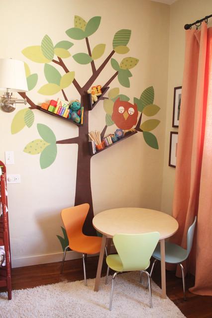 Floating booshelves tree wall art - Modern kids wall decor ...