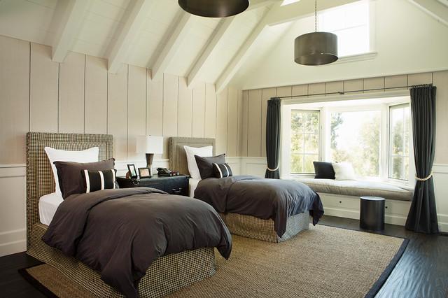 Example of a large coastal gender-neutral dark wood floor and brown floor kids' bedroom design in San Francisco with beige walls
