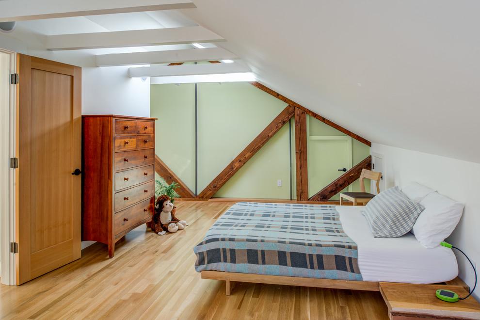 Kids' bedroom - craftsman light wood floor and beige floor kids' bedroom idea in San Francisco with green walls