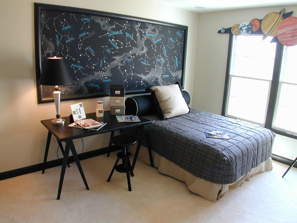 Example of a trendy boy carpeted kids' room design in DC Metro with beige walls