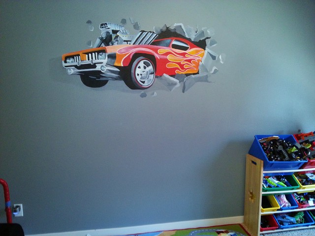Delightful Four Year Old Boyu0027s Bedroom Ural Of Hot Wheels Car Crashing Through The Wall Part 10