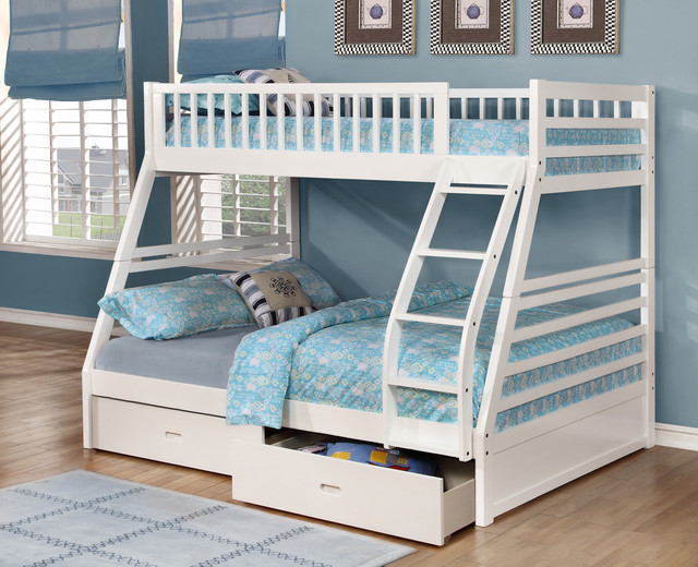 Fraser III White Twin over Full Bunk Bed with Storage