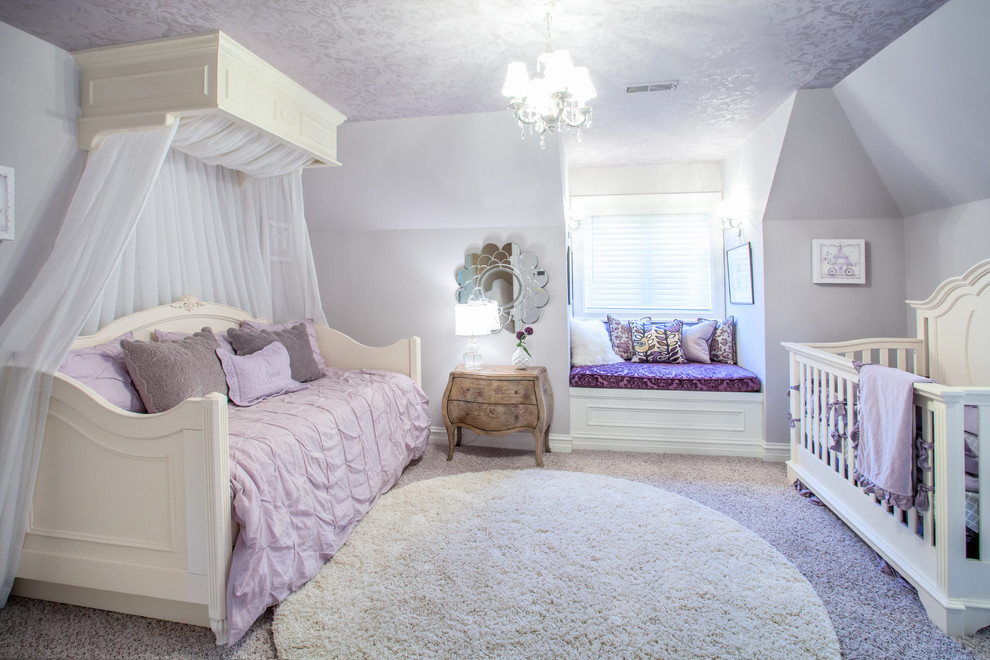 Example of a classic girl carpeted kids' room design in Detroit with purple walls