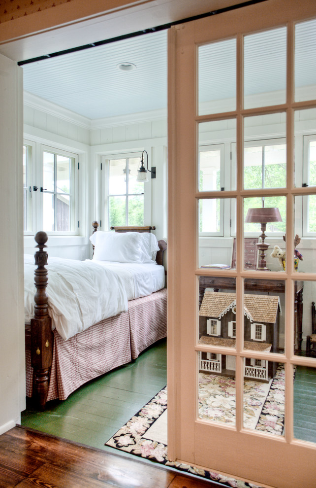 Example of a cottage painted wood floor and green floor kids' room design in Atlanta