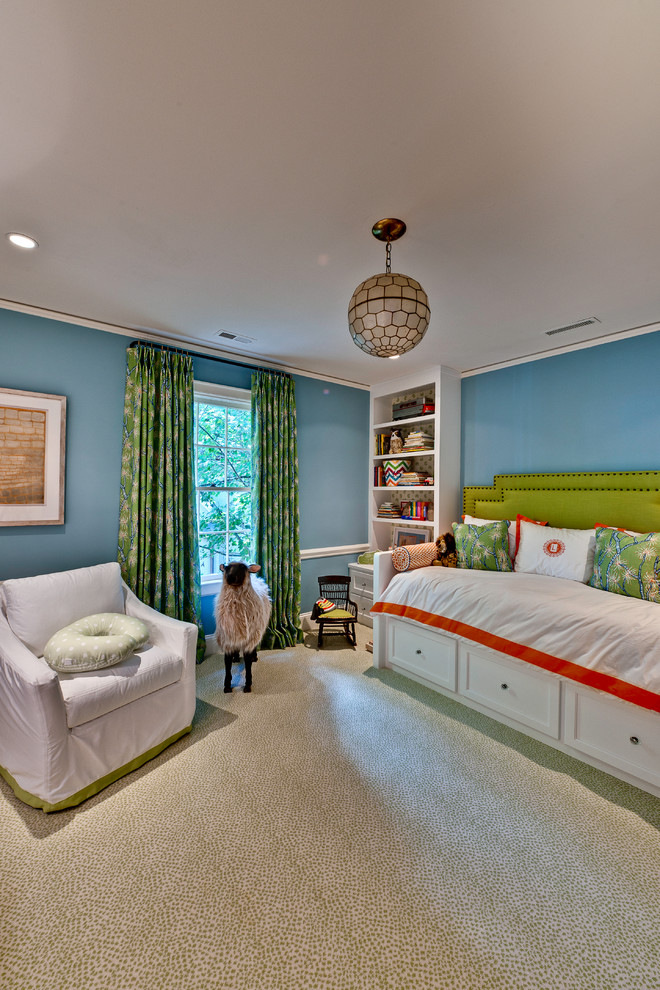 Eclectic gender-neutral carpeted kids' room photo in Charlotte with blue walls
