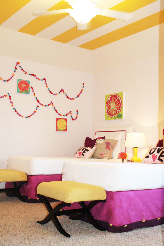 Example of an eclectic girl carpeted kids' bedroom design in Houston with white walls