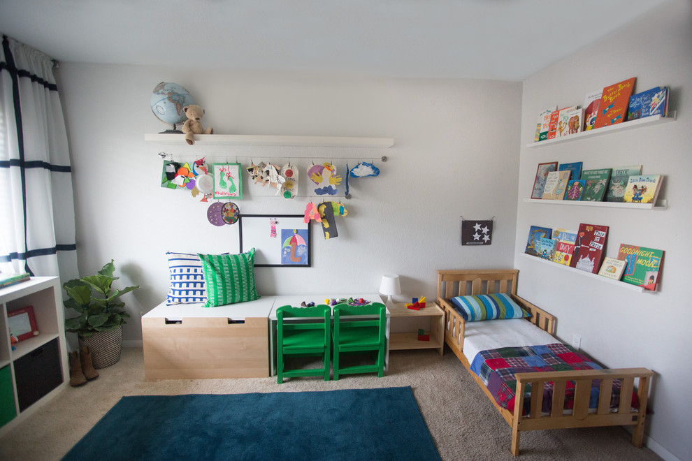 Inspiration for a mid-sized eclectic boy carpeted kids' room remodel in San Diego with gray walls