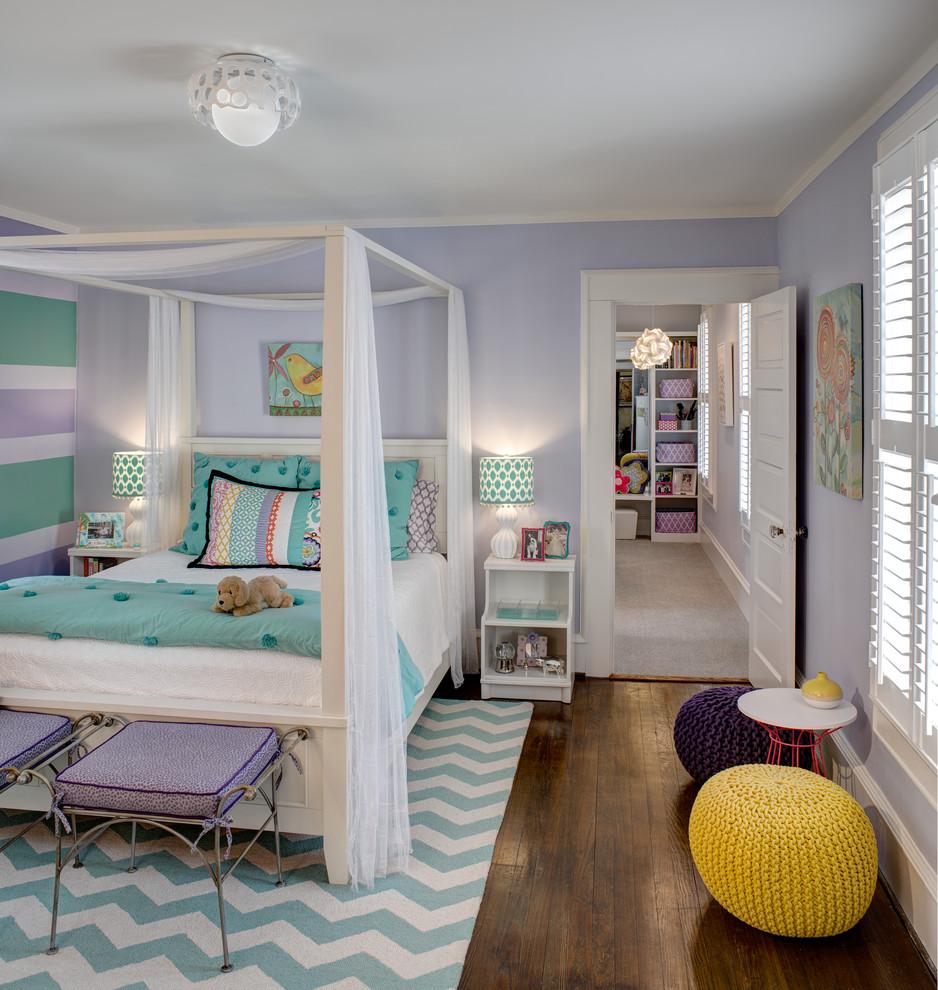 Elegant girl dark wood floor kids' bedroom photo in Other with purple walls