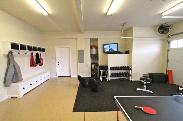 Garage rec room contemporary kids portland by