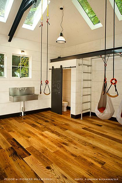 Garage Turned Playroom Seattle Wa With Chestnut Flooring