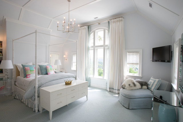 Kids' room - traditional girl carpeted and blue floor kids' room idea in New York with gray walls