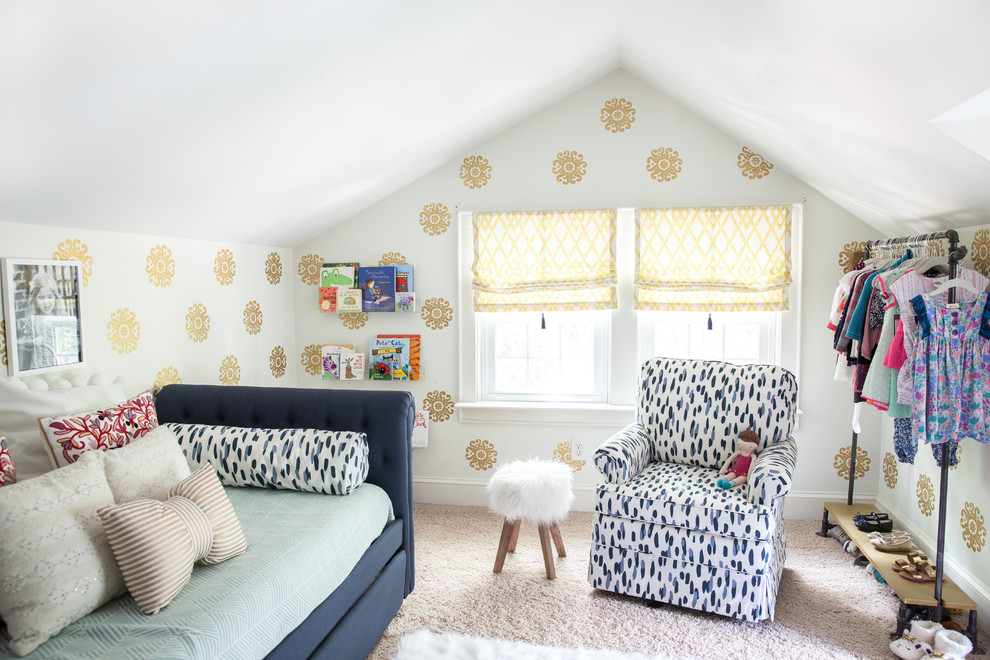 Inspiration for a transitional girl carpeted kids' room remodel in Charlotte with multicolored walls