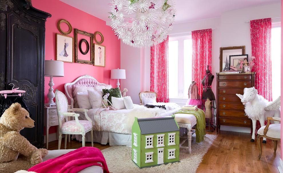Kids' room - shabby-chic style girl medium tone wood floor kids' room idea in Toronto with multicolored walls