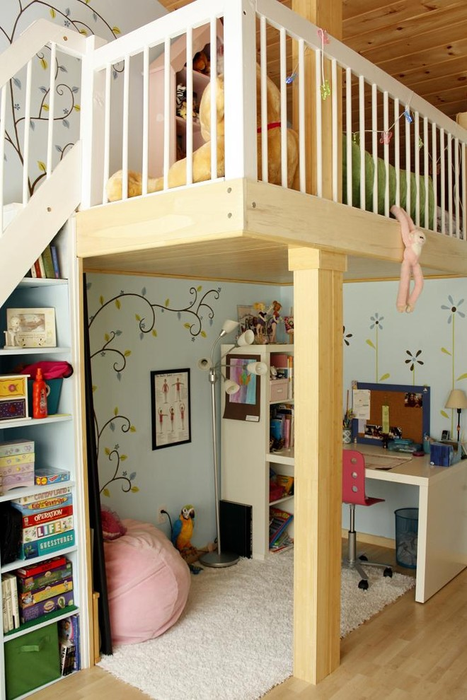 Playroom - contemporary girl playroom idea in Boston with blue walls