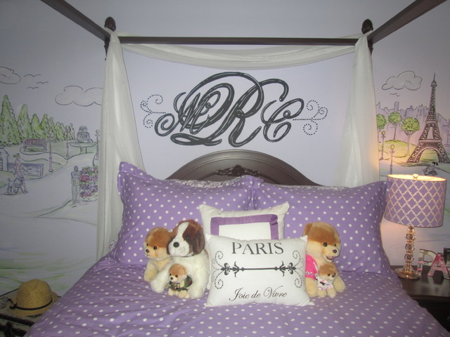girl 39 s paris themed bedroom traditional kids other