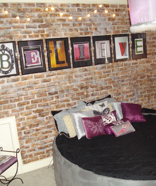 Girls Room Faux Brick Wall Transitional Kids