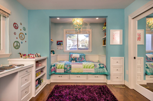 Girl S Room With Custom Bed Amp Built Ins Transitional