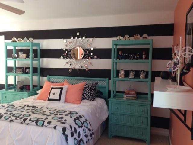 coral teal bedroom