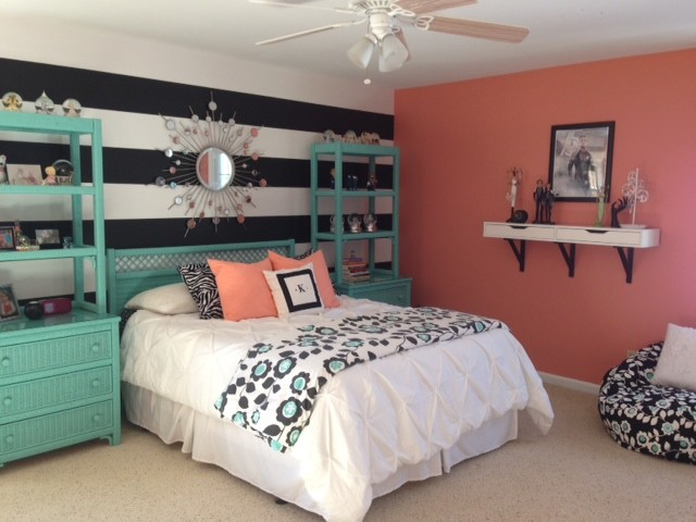 Girl S Teal Amp Coral Bedroom Transitional Kids