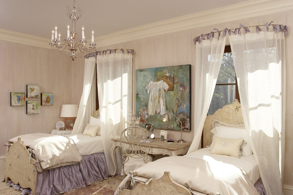 Large cottage chic girl kids' bedroom photo in Atlanta with pink walls