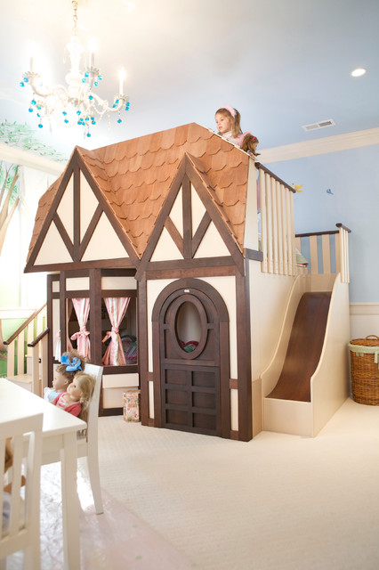 girls dollhouse playhouse bed with slide kids las. Black Bedroom Furniture Sets. Home Design Ideas