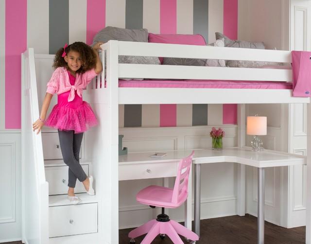Girls High White Loft Bed With Desk Contemporary Kids Dc Metro By Maxtrix Kids Furniture Houzz Au
