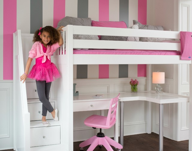 Trendy Girl Dark Wood Floor Kidsu0027 Bedroom Photo In DC Metro With  Multicolored Walls