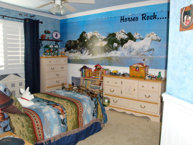 girls horse inspired bedroom traditional kids