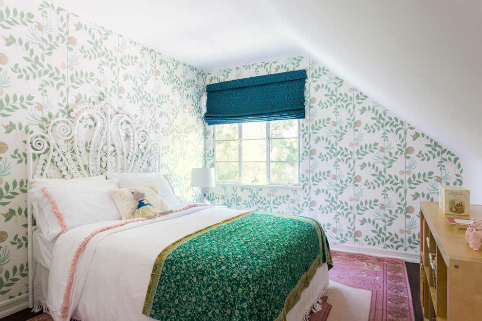 Example of a small eclectic girl kids' room design in Los Angeles with multicolored walls