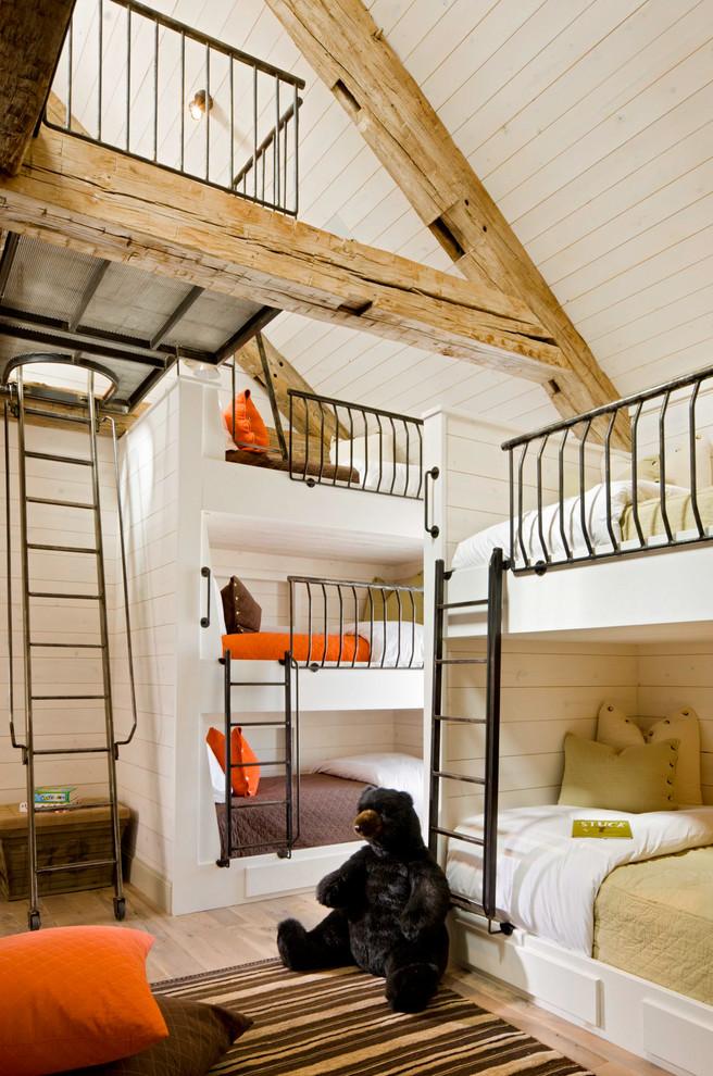 Inspiration for a rustic gender-neutral light wood floor kids' bedroom remodel in Denver with white walls