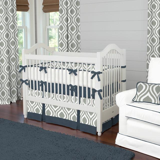 Gray And Navy Raindrops Crib Bedding Contemporary Kids