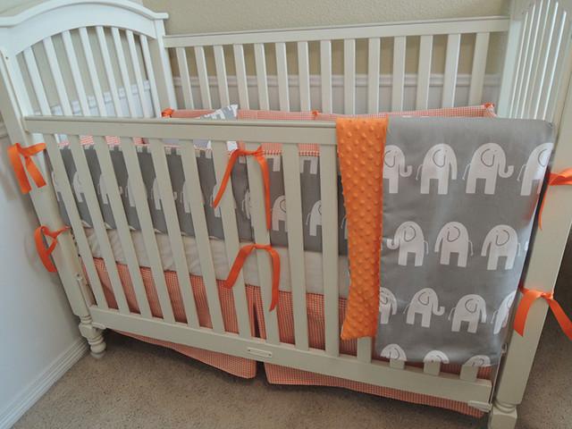 Gray And Orange Elephant Houndstooth Custom Baby Bedding