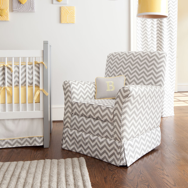 Gray and White Chevron Chair contemporary-kids