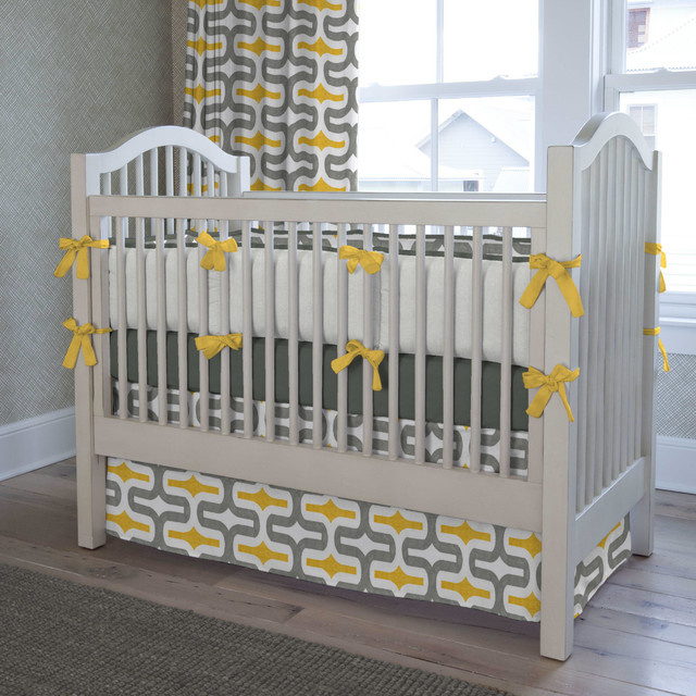 Gray And Yellow Embrace Crib Bedding Contemporary Kids
