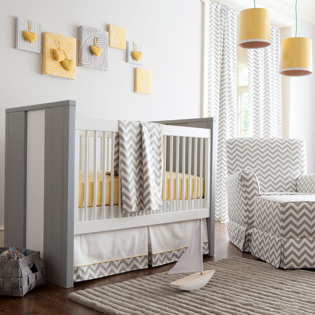 Gray and Yellow Zig Zag Nursery by Carousel Designs contemporary-kids