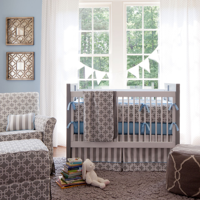 Gray Geometric Crib Bedding contemporary kids