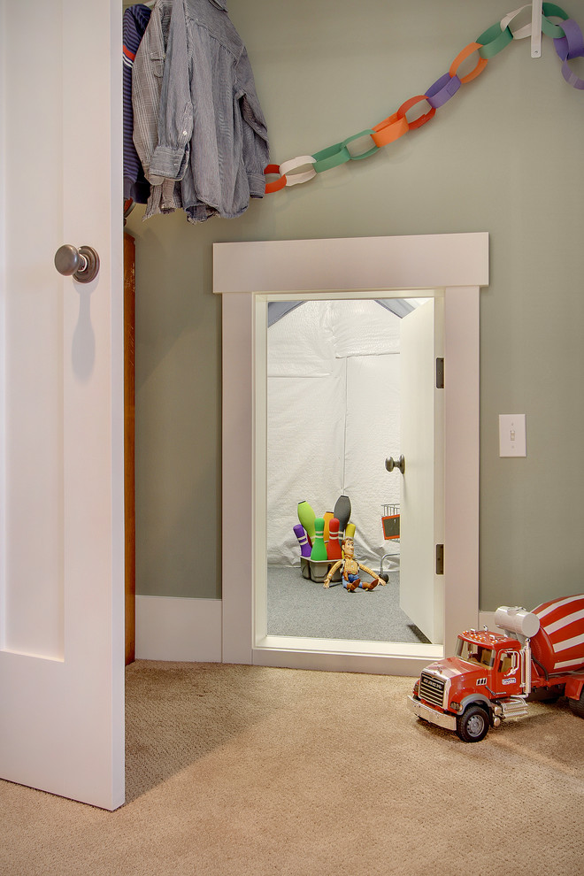 Kids' room - traditional carpeted kids' room idea in Seattle with gray walls