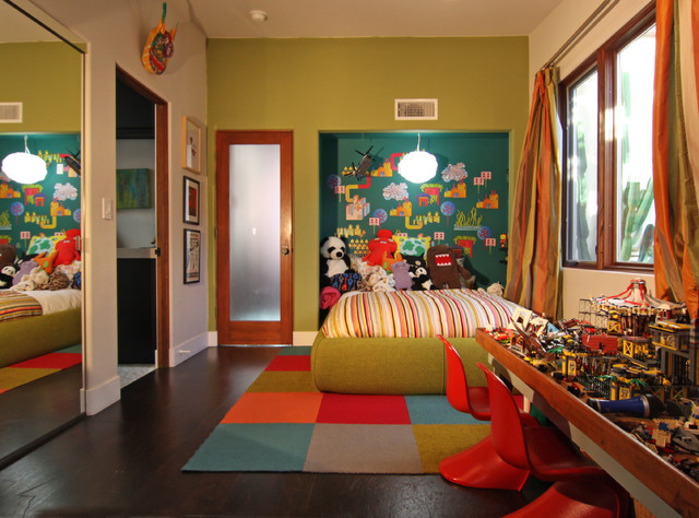 Green Walls and Pops of Color for a Fun Kid Room eclectic-kids