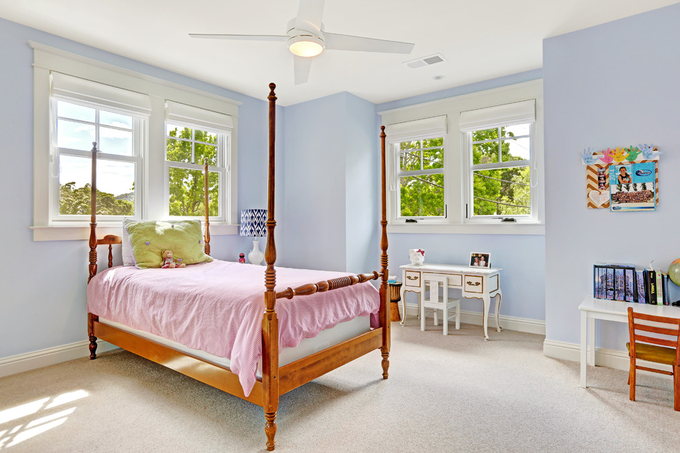 Kids' bedroom - traditional girl carpeted kids' bedroom idea in San Francisco with blue walls