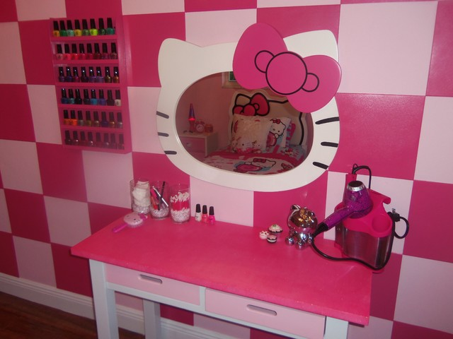 Hello Kitty Girl s Bedroom traditional kids  Hello Kitty Girl s Bedroom. Hello Kitty Vanity   Mirror With Stool