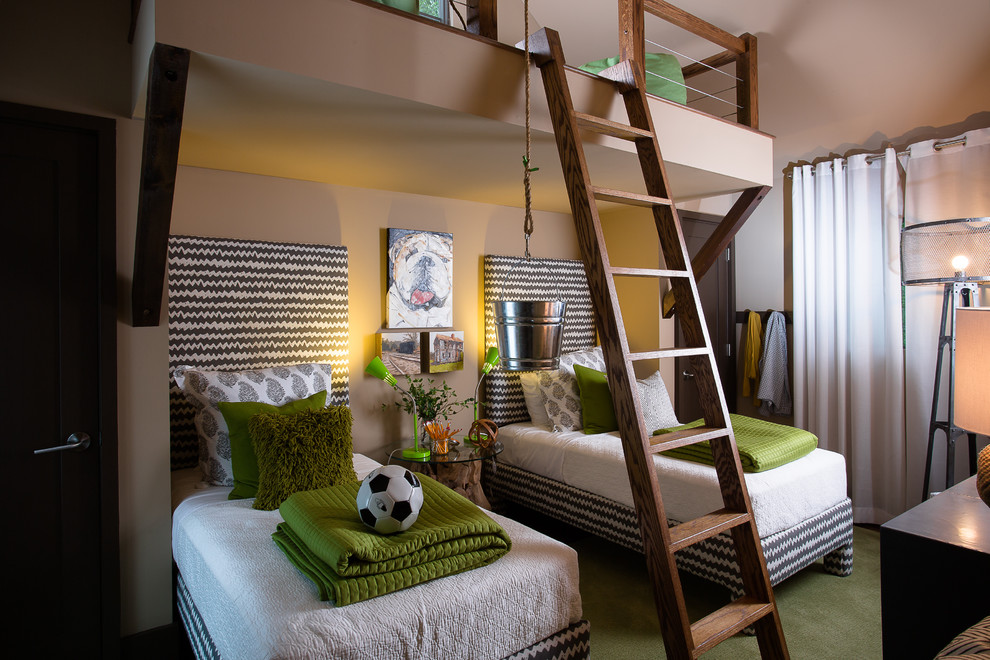 Kids' room - mid-sized contemporary boy carpeted and green floor kids' room idea in Atlanta with multicolored walls