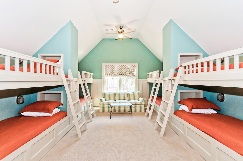 Inspiration for a timeless kids' room remodel in Atlanta with blue walls