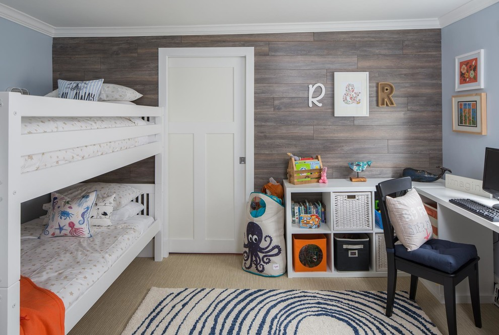 Example of a small beach style gender-neutral carpeted kids' room design in Calgary with multicolored walls
