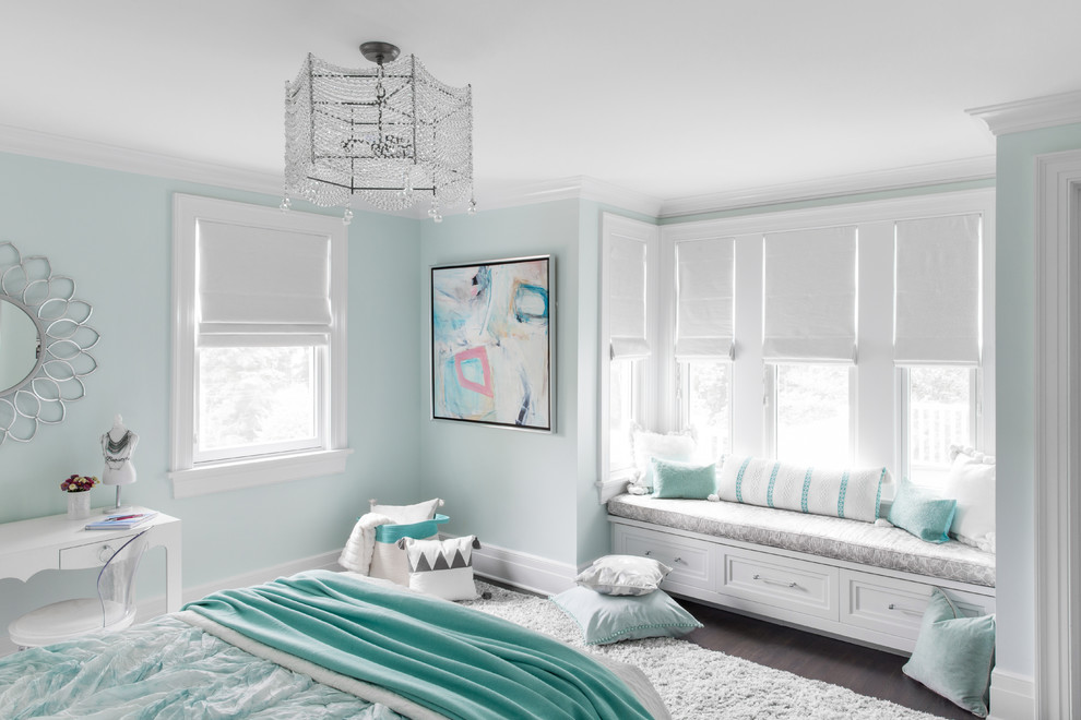 Inspiration for a coastal girl dark wood floor kids' room remodel in New York with green walls