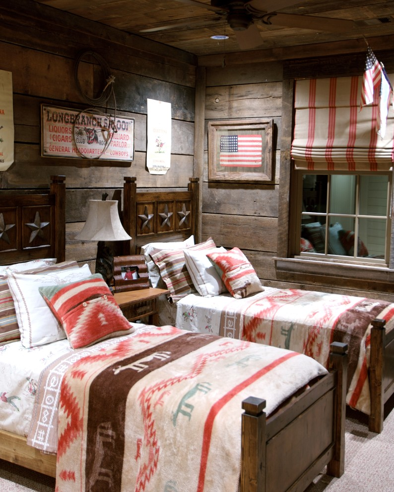 Example of a mountain style gender-neutral carpeted kids' bedroom design in Jacksonville